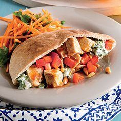 Moroccan Chicken Salad Pitas Super Fast Dinner Tonight by Cooking Light, Serve with: Orange-Carrot Salad