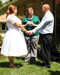 Saying the I do's....Friend Sandra officiated.