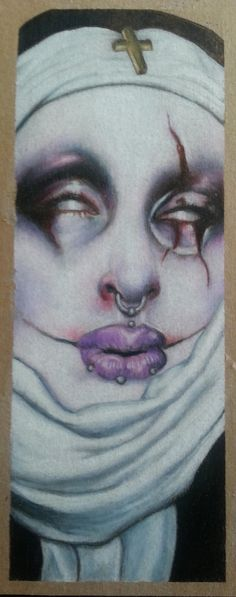 This drawing comes framed The model is Rottenfairyzombie and she also did the makeup. Inspired by the painting of Hans Memling by Michael Hussar. Michael Hussar, Hans Memling, Tim Scott, Dark Art Drawings, Kitsch, Nun, Iowa, Makeup, Creative