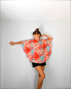 Vintage 1970's Boho Asian Inspired Floral Blouse by jacquelynmaria, $34.00