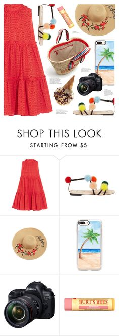 """On Vacation"" by ames-ym ❤ liked on Polyvore featuring Lisa Marie Fernandez, Fendi, Casetify, Eos, Burt's Bees, Miu Miu, sandals, vacation and sundress"