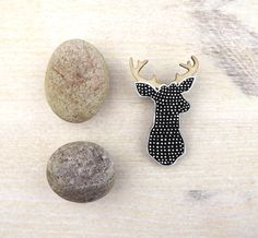 Eco friendly Brooch Black White  Doodle Stag by SketchInc on Etsy, £10.50