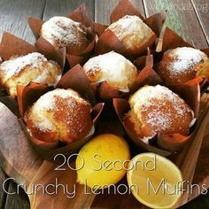 Thermotwinning: 20 Second Crunchy Lemon Muffins thermomix Muffin Recipes, Baking Recipes, Dessert Recipes, Lemon Recipes, Sweet Recipes, Bellini Recipe, Simple Muffin Recipe, Lemon Muffins, Thermomix Desserts