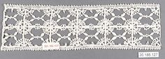 Insertion Date: 16th century Culture: Italian (Genoa) Medium: Bobbin lace Dimensions: L. 8 x W. 2 1/4 inches (20.3 x 5.7 cm) Classification: Textiles-Laces Credit Line: Rogers Fund, 1920 Accession Number: 20.186.127