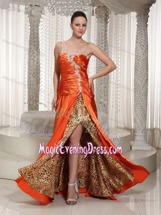 Leopard One Shoulder Ruched Appliques Slit Orange Evening Gown