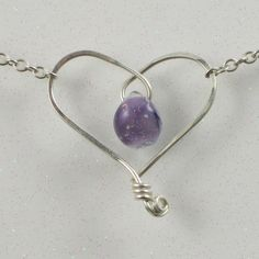 Purple Heart Necklace Sterling Silver Wire Jewelry I like the way that the briolette is part of the heart.