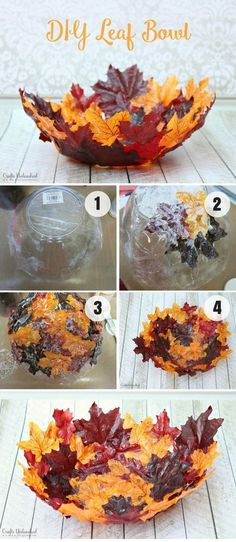 DIY: Fall Decor Ideas To Decorate Your Home Diy Fall Crafts diy fall projects Thanksgiving Diy, Image Pinterest, Pinterest Diy, Leaf Bowls, Autumn Crafts, Spring Crafts, Fall Projects, Easy Diy Crafts, Budget Crafts