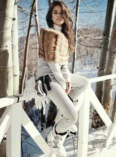 ' Emily Didonato in Michael Kors photographed by Benny Horne for Vogue Australia, June Emily Didonato, Cheap Michael Kors, Michael Kors Outlet, Michael Kors Bag, Vogue Australia, Snow Fashion, Winter Fashion, Ski Style, Chalet Chic