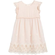 CARRÉMENT BEAU Pale Pink Dress with Embroidered Tulle Skirt