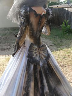 Hand painted gothic wedding gown and veil by myliltreasureboxx, $299.00