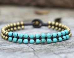 Turquoise Grace Brass Bracelet