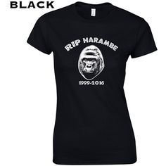 Rip Harambe Gorilla Cincinnati Zoo Endangered Species Preservation... ($10) ❤ liked on Polyvore featuring tops, t-shirts, black and women's clothing