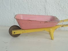 Vintage Tin Toy Wheel Barrow - Pink Yellow - Metal