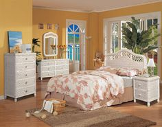 White Wicker Bedroom Furniture With Yellow Wall Color - Home Interior Design Ideas White Wicker Bedroom Furniture, Wicker Dresser, Wicker Headboard, Wicker Shelf, Dresser Mirror, Queen Headboard, Wicker Trunk, Wicker Mirror, Wicker Planter