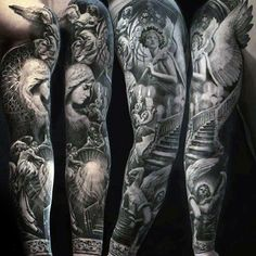 Stairway To Heaven Mens Unique Angel Full Sleeve Tattoo