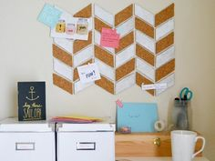32 Diy Marvelous Cork Board Ideas To Make, Whatever size you select, make sure both boards are the very same size. Cork board is simple to cut, so that you may theoretically create cork coaster. Office Organization, Organizing Ideas, Organized Office, Organizing Life, Bulletins, My New Room, Dorm Decorations, Getting Organized, Dorm Room