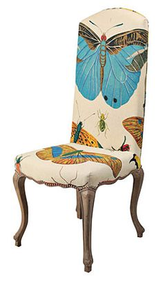 Design Legacy's charming cabriole leg chair, upholstered in hand-screened natural linen. Funky Furniture, Unique Furniture, Painted Furniture, Furniture Stores, Cheap Furniture, Discount Furniture, Love Chair, Butterfly Decorations, Boutique Homes