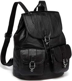 7789f84b9b27 Backpack Purse for Women,VASCHY Fashion Faux Leather Buckle Flap Drawstring  Backpack for College with