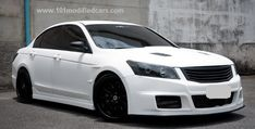 Modified Honda Accord (8th generation) 2.4l Sedan Turbocharged with custom body kit (Mugen) front bumper, open vent hood (bonnet), black front grille and headlights