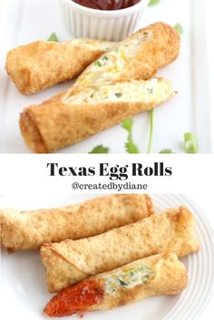 Texas Egg Rolls are loaded with cream cheese with just the right amount of heat! Texas Egg Rolls are loaded with cream cheese with just the right amount of heat! Vegetarian Egg Rolls, Vegan Egg Rolls, Chinese Egg Rolls, Egg Roll Wraps, Egg Roll Recipes, Recipes Using Egg Roll Wrappers, Eggroll Wrapper Recipes, Easy Recipes, Chicken Spring Rolls