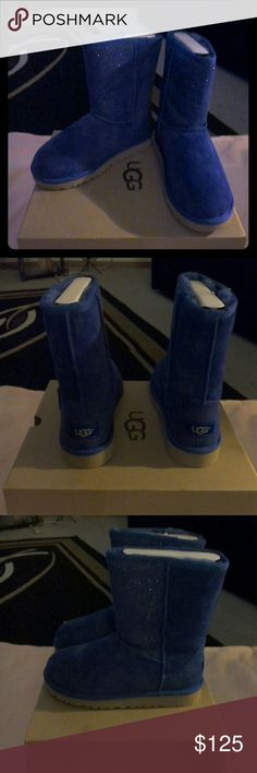 UGG  Classic Short Beautiful Royal blue Serein short boots. Youthsize 5 fits women's size 7-7.5 brand new UGG Shoes Ankle Boots & Booties