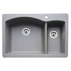 Blanco 440198 Diamond Metallic Gray 1 and 1/2 Bowl Silgranit Drop In Kitchen Sink. 354