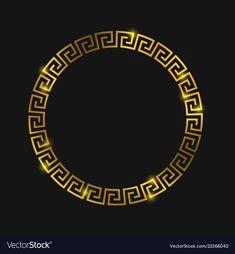 Golden round greek frame for design vector image on VectorStock Rundes Tattoo, Logo Rond, Versace Wallpaper, Gold Wallpaper, Screen Wallpaper, Or Noir, Versace Logo, Studio Logo, Instagram Highlight Icons