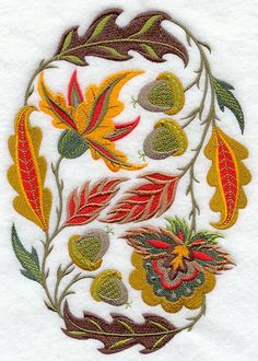 JACOBEAN AUTUMN OVAL- Machine Embroidered Quilt Blocks (AzEB)