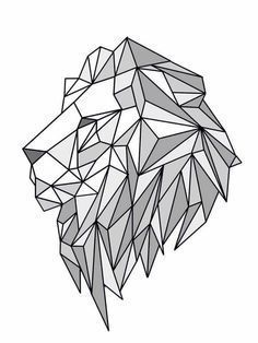 Geometric Lion — for minimalists who love animals. Geometric Drawing, Geometric Shapes, Geometric Animal, Geometric Lion Tattoo, Tattoo Abstract, Geometric Logo, Lion Origami, Doodle Drawing, Polygon Art