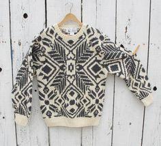 80s Bullock's Fair Isle Heavy Shetland Wool Hand Knit Sweater