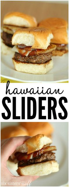 Delicious Hawaiian Hamburger Sliders recipe from SixSistersStuff.com | Quick and easy weeknight dinner that everyone in the family will love!