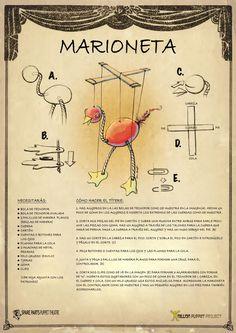 Aprenda como fazer bonecos e marionetes: Aprenda como fazer um Marionete de 4 linhas. Muito fácil, pode ser usado com ensino crianças à partir de 4 anos
