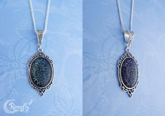 Fantasy necklace with a black – holographic turquoise/purple crackle pendant. Made by Rowan Hogervorst - Ronafly