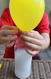 no helium! just fill a water bottle 1/3 full with vinegar with a funnel. With another dry funnel, pour baking road into balloon (about 1/2 way). Cover top of bottle with balloon. DON'T LET BAKING SOADA SPILL INTO THE BOTTLE. Then lift balloon and let baking soda fall into vinegar. Mixture will fizz and expand balloon!