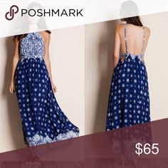Printed Backless Blue Maxi Dress Printed backless maxi dress in blue. True to size. This is an ACTUAL PIC of the item - all photography done personally by me. PRICE FIRM. NO TRADES DO NOT BOTHER ASKING. Bare Anthology Dresses Maxi