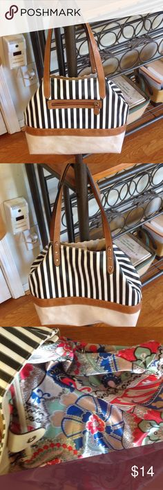 Striped bag Very versatile has 2 diff looks... Tucked in is held by a very nice clasp.......mint condition inside and out... Inside has beautiful material.... With one large zipper inside and one is outside...closure is a snap Bags Shoulder Bags