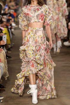 Philosophy di Lorenzo Serafini - Cropped Ruffled Floral-print Cotton And Silk-blend Top - Cream - IT4