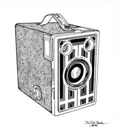 Brownie Junior Metal Print by Ira Shander. All metal prints are professionally printed, packaged, and shipped within 3 - 4 business days and delivered ready-to-hang on your wall. Wood Burning Art, Ink Pen Drawings, Vintage Cameras, Got Print, High Gloss, Fine Art America, Metal, Prints, Scrapbooking