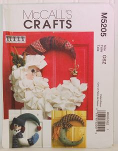 McCall's Craft M5205 (c.2006) McCall's M5205, Holiday Decor, Wreaths, Seasonal Decorations, Santa Clause Wreath, Witch, Halloween, Snowman by TooHipChicks on Etsy