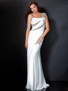 A-line beaded one-shoulder sweep train white Prom Dresses 2012 Evening Attire, Evening Dresses, Nice Dresses, Formal Dresses, Wedding Dresses, Bridesmaid Dresses, Mode Glamour, Prom Dresses Jovani, High Fashion Dresses