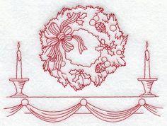 Candlelight Wreath (Redwork)