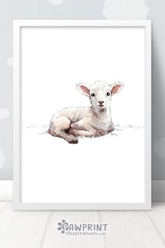 Little Lamb Nursery Print - This sweet baby sheep print is the perfect way to make your little ones' Sheep Nursery, Lamb Nursery, Farm Animal Nursery, Lamb Drawing, Painting & Drawing, Sheep Paintings, Animal Paintings, Lamm Tattoo, Nursery Prints