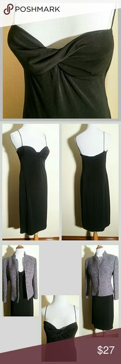 """NWT LBD Laundry by Shelli Segal Dress This pretty, fully lined, little black dress is versatile in that it can be worn under a blazer, a cape, shawl, or alone. It's lightly padded in the bust, is dry clean only, & made in USA.  There is some very mild storage fabric wear.  It is made from 92% polyester & 8% elasthane. The lining is made of 100% polyester. The measurements across are: bust 16 1/2"""", waist 14 1/2"""" hips 18"""". The length is 34""""  🛍 Bundle and Save More! Laundry by Shelli Segal…"""