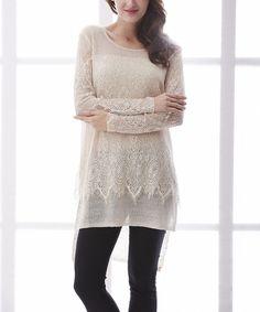 Simply Couture Beige Sheer Linen Hi-Low Top