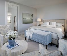 Suzie: Summer House - Beachy blue bedroom design with modern linen wingback bed with nailhead ...
