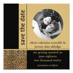 Leopard Print Photo Save The Date Invitations