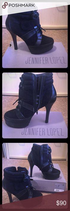 Jennifer Lopez Black boots Jennifer Lopez Black High-heel boots, like new...only worn a few times. Jennifer Lopez Shoes Heeled Boots