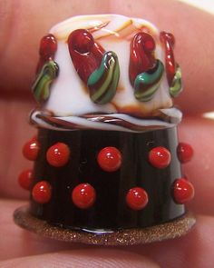 Handmade Lampwork Glass Thimble Red Rose by ColleensCreations, $18.00