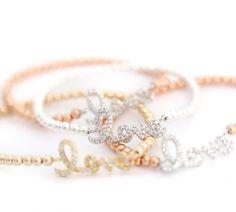 love rose gold and silver bracelet