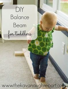 DIY Wooden Balance Beam - easy, simple indoor gross motor play for toddlers and preschoolers